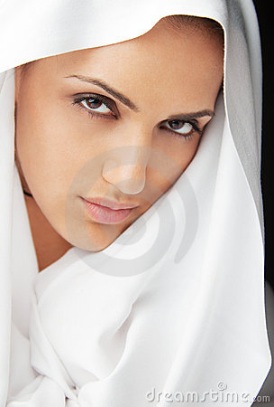 Female face white veil