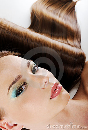 Free Female Face With Bright Make-up And Health Hair Stock Photo - 10227950