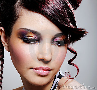 Free Female Face With Multicoloured Eyeshadow Stock Photography - 9404112