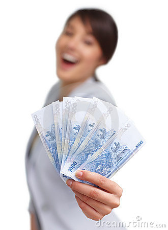 Female with a fan of currency notes on white
