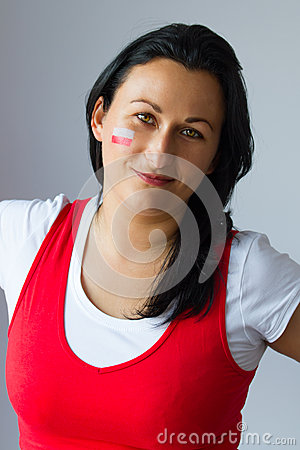 Female fan portrait of Polish team