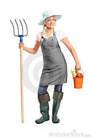 Free Female Farmer Holding A Pitchfork And Bucket Royalty Free Stock Photos - 20260568