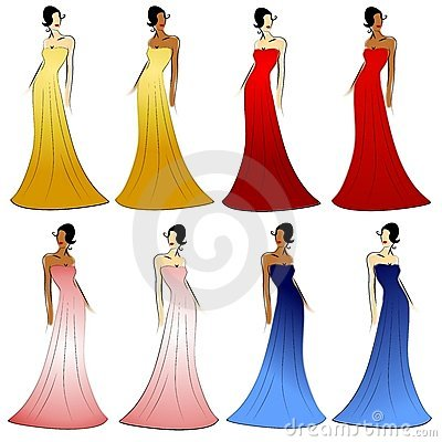 Free Female Fashion Models Gowns Royalty Free Stock Photography - 4008817