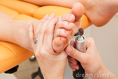 Female feet pedicure