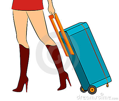 Female feet with suitcase