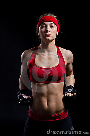 Free Female Fighter In Black Gloves Royalty Free Stock Photos - 23738198