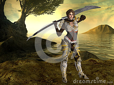 A female fighter with a sword and fantasy background