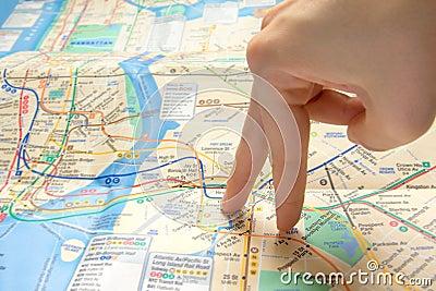 Fingers walking on map