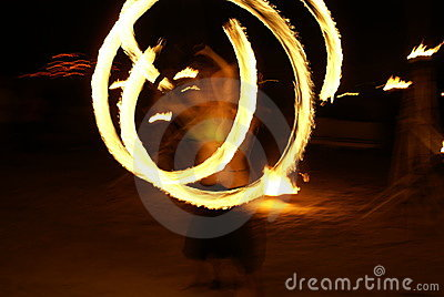 Female fire dancing
