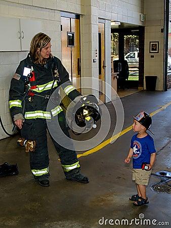 fireman and little boy