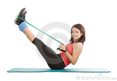 female with fitness expander in stretching