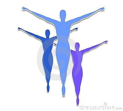 Female Fitness Silhouettes Blue