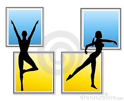 Female Fitness Yoga Silhouettes