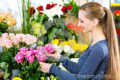 Female florist in flower shop