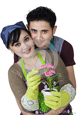Female florist with her husband