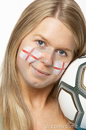 Female Football Fan With St Georges Flag On Face