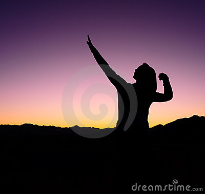Female Football Win Silhouette