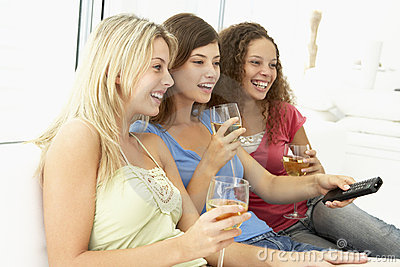 Female Friends Watching Television Together
