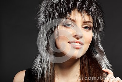 Female in fur hat