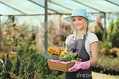Female gardener in a garden