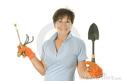 Female gardener gardening tools