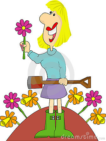Free Female Gardener With Flowers Stock Photo - 8102410