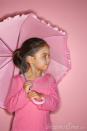 Female girl with umbrella.