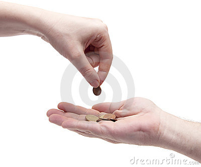 Female giving coin to another person