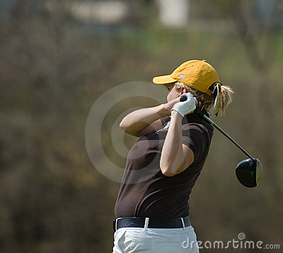 Female golfer side view