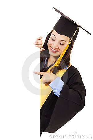 Female Graduate with copy space
