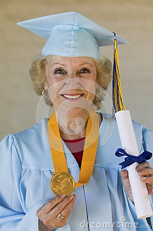 Female Graduate With Medal And Certificate