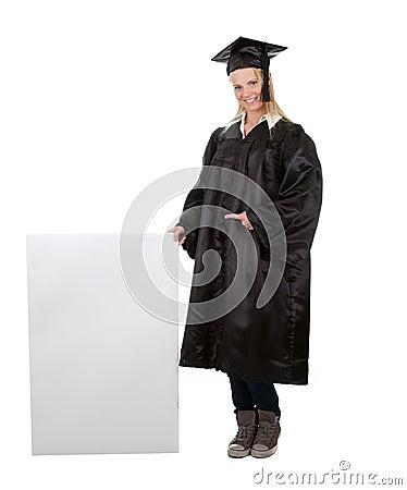 Female graduate student presenting empty board