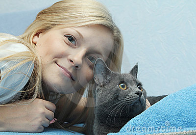Female with grey cat