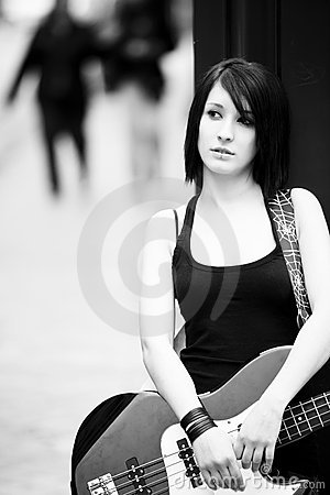 Female guitarist portrait