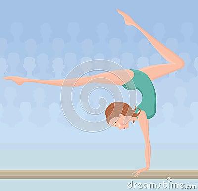 Female gymnast on balance beam