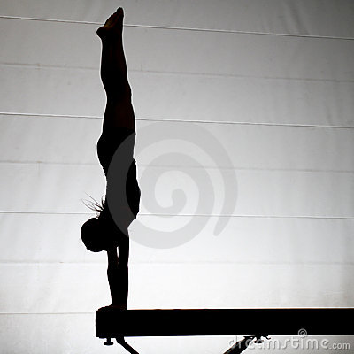 Female gymnast handstand