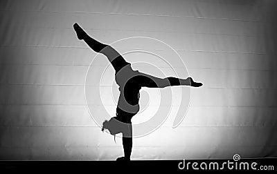 Female gymnast handstand