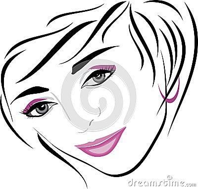 Female hairdo. Icon for design