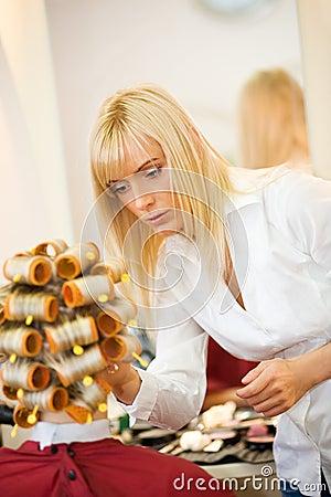 Female hairdresser working