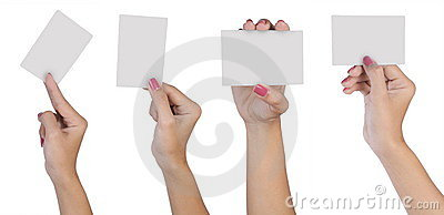 Female hand with blank business card