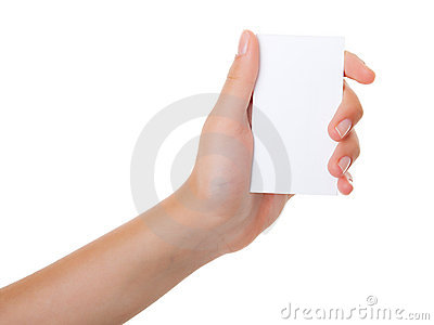 Female hand with a business card