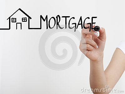 Female hand drawing mortgage concept