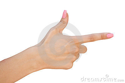 Female hand with forefinger