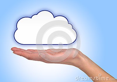 Illustrated cloud on female hand