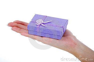 Female Hand Holding A Light Blue Gift Box Stock Photography - Image: 23520132