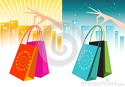 Female Hand Holding Shopping Bags- Two Colourways