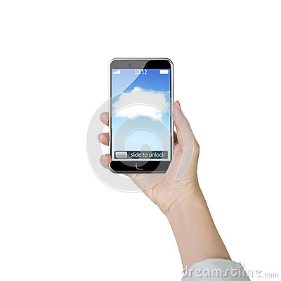 Free Female Hand Holding Smart Phone With White Cloud Application Royalty Free Stock Photography - 57177777