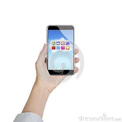 Free Female Hand Holding Smartphone With App Icons White Cloud Stock Images - 57562224
