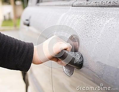 Female hand Opening Car Door