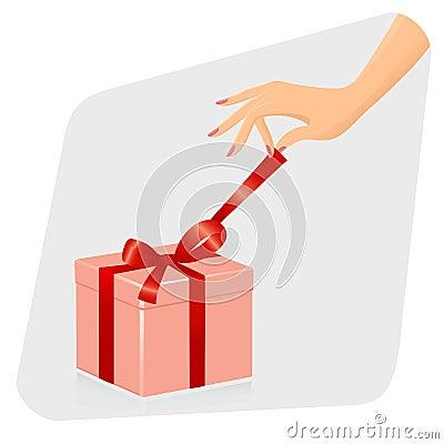Female hand opening gift.